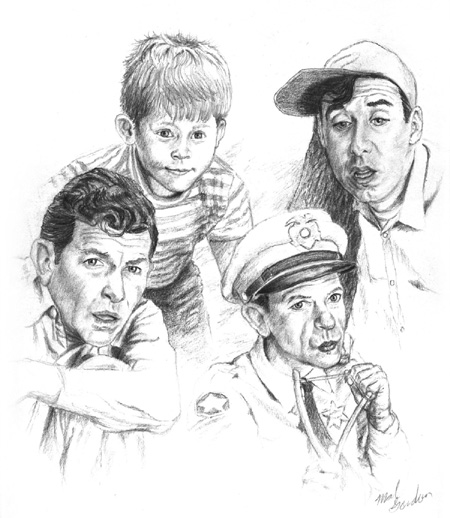 Andy Griffith-as Andy Taylor, Don Knotts-as Barney Fife, Jim Neighbors-as Gomer Pyle, and Ronnie Howard-as Opie Taylor done in pencil on paper.