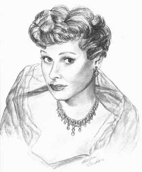 Lucille Ball art done in pencil on paper.