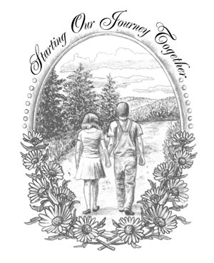 Country Couple Hand Drawn Wedding Card.